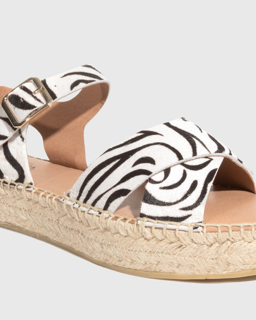 Ugata Zebra Print Leather Espadrille Flatform Sandal & Wittner & Wittner Shoes