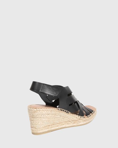 Utari Black Leather Woven Strap Espadrille Wedge & Wittner & Wittner Shoes