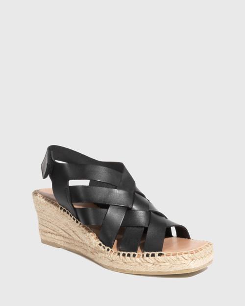 Utari Black Leather Woven Strap Espadrille Wedge