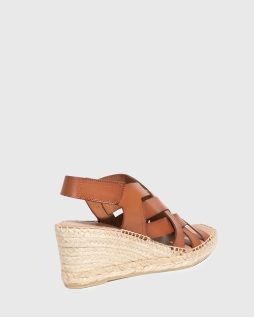 Utari Tan Leather Woven Strap Espadrille Wedge & Wittner & Wittner Shoes