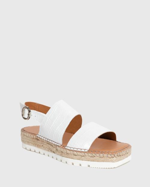 Ulsi White Croc-Embossed Espadrille Sandal