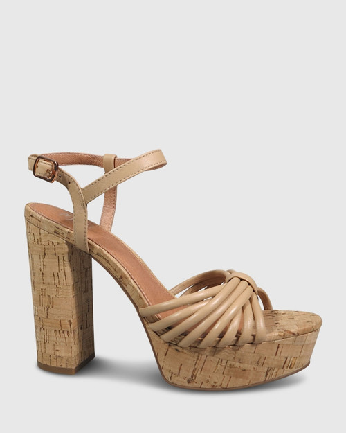 Viviette Natural Leather Cork Platform Sandal.