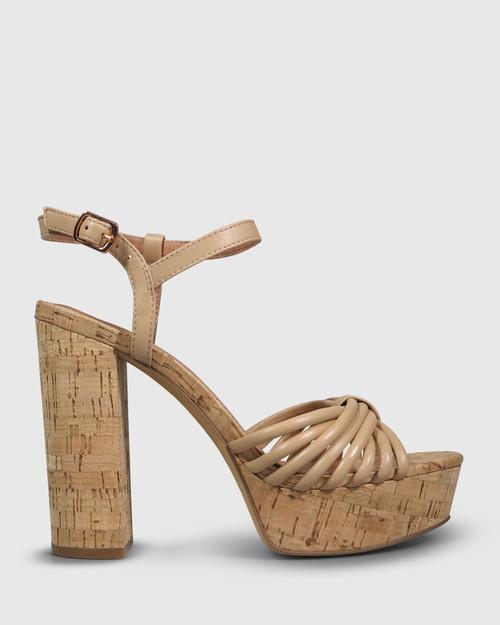Viviette Natural Leather Cork Platform Sandal.