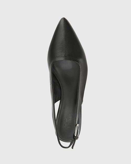Andres Black Leather Pointed Toe Low Heel Slingback. & Wittner & Wittner Shoes