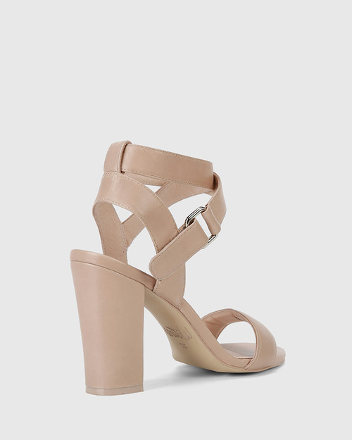 Ralexx 2 Nude Leather Block Heel Sandal.