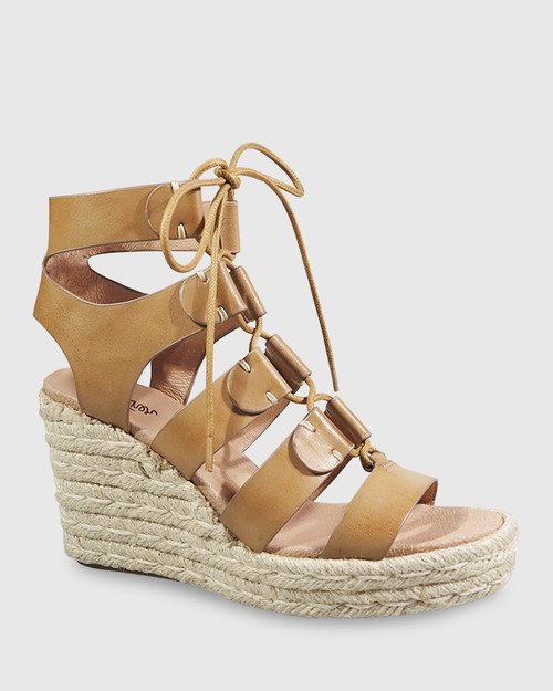 Venita Tan Leather Lace Up Espadrille Style Wedge. & Wittner & Wittner Shoes
