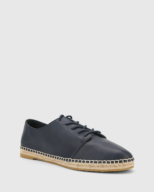Ellam Riveria Blue Leather Espadrille Sneaker.