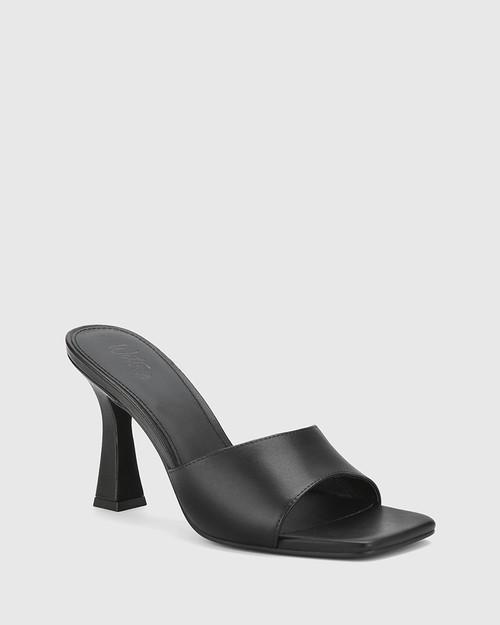 Ruthie Black Leather Curve Heel Sandal. & Wittner & Wittner Shoes