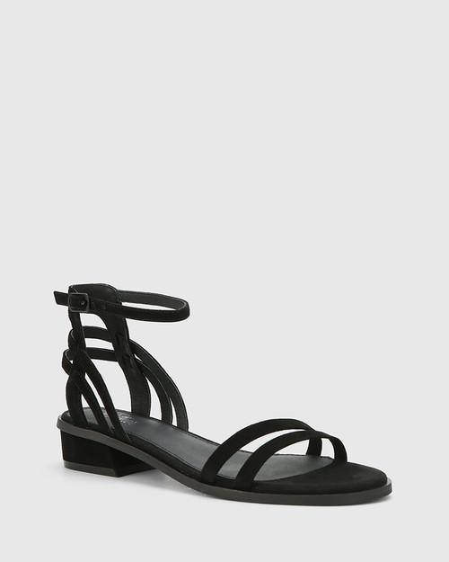 Taya Black Suede Flat Sandal.