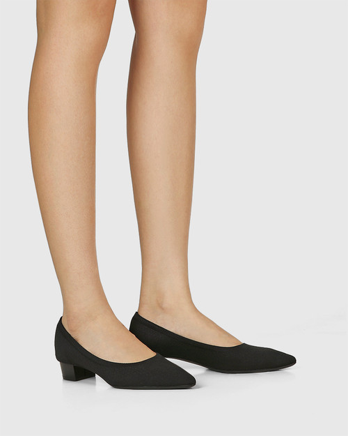 Affinity Black Recycled Knit Low Heel Pump & Wittner & Wittner Shoes