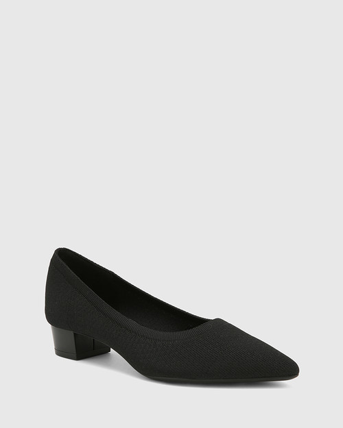 Affinity Black Recycled Flyknit Low Heel Pump