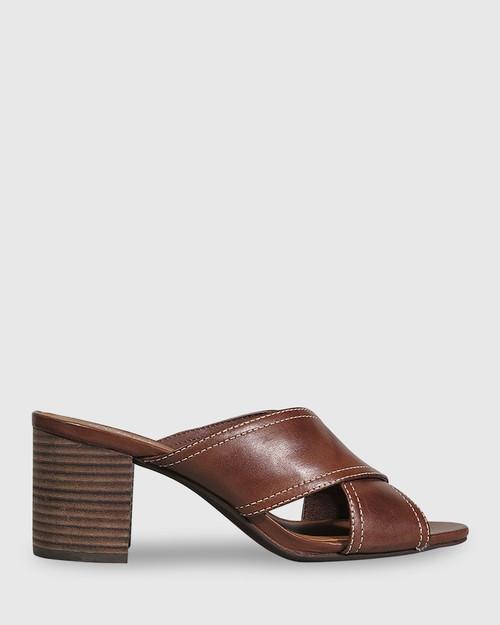 Nolan Dark Brown Leather Block Heel Mule. & Wittner & Wittner Shoes