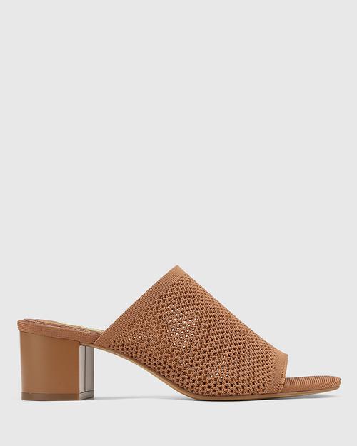 Ismene Tan Recycled Flyknit Block Heel Sandal