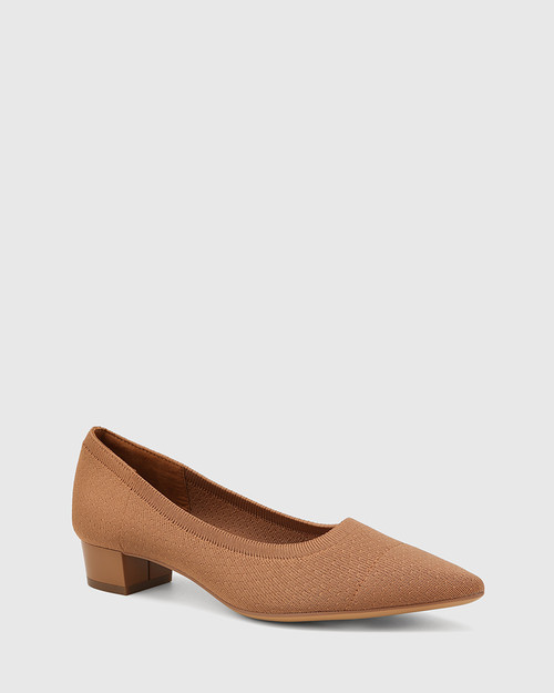 Affinity Tan Recycled Flyknit Low Heel Pump
