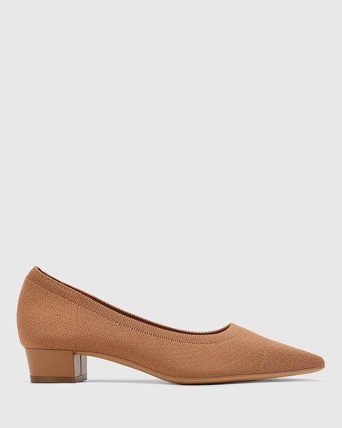 Affinity Tan Recycled Knit Low Heel Pump & Wittner & Wittner Shoes
