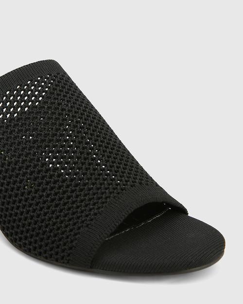 Ismene Black Recycled Knit Block Heel Sandal & Wittner & Wittner Shoes