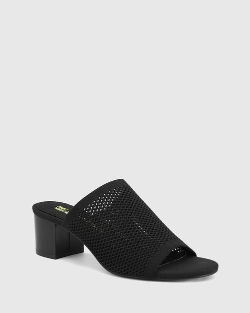 Ismene Black Recycled Knit Block Heel Sandal