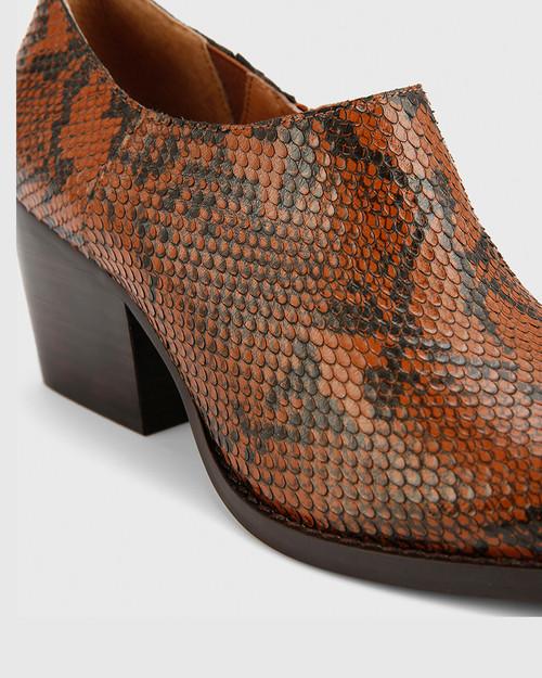 Keisha Chocolate Snake Print Leather Pointed Toe Block Heel Bootie.