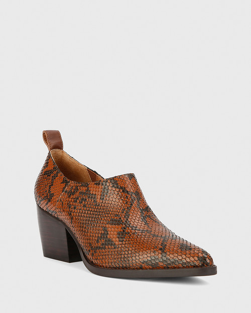 Keisha Chocolate Snake Print Leather Pointed Toe Block Heel Bootie.