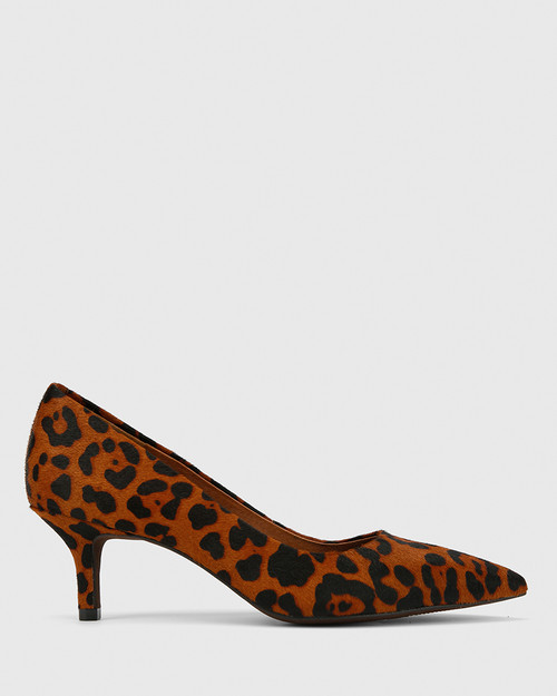 Neana Leopard Printed Hair On Leather Pointed Toe Kitten Heel.
