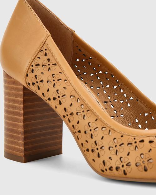Sampa Toffee Leather Lasercut Block Heel Pump