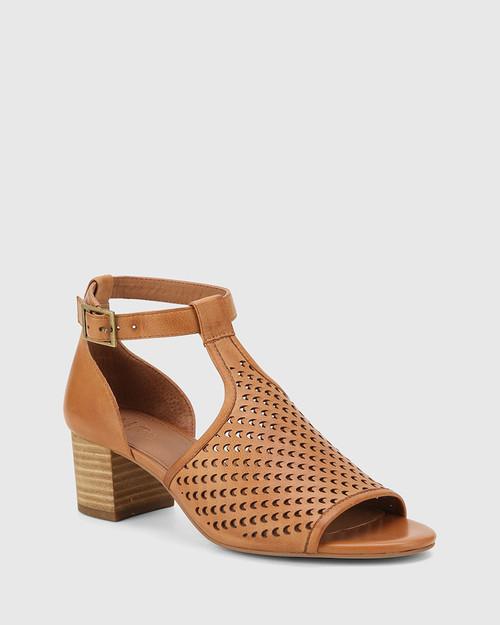 Imiza Coconut Leather Lasercut Block Heel Sandal. & Wittner & Wittner Shoes