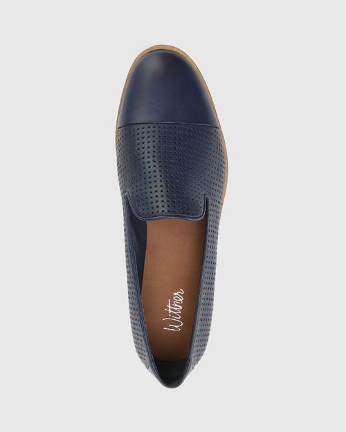 Janey Oxford Blue Pin Punched Leather Platform Loafer.