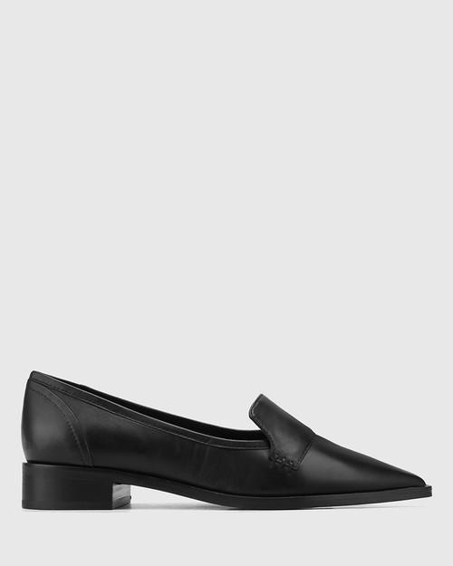Miguel Black Leather Pointed Toe Loafer. & Wittner & Wittner Shoes