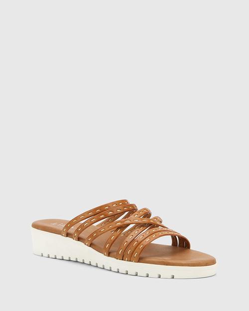 Jelica Toffee Leather Slip On Wedge Sandal.