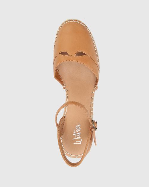 Zabel Coconut Leather Espadrille Wedge. & Wittner & Wittner Shoes