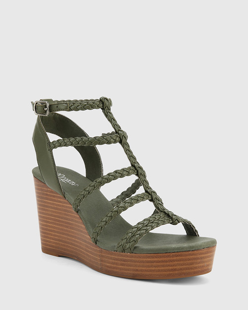 Vittoria Army Braided Leather Open Toe Wedge.