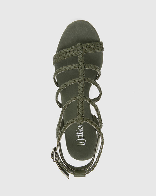 Vittoria Army Braided Leather Open Toe Wedge. & Wittner & Wittner Shoes