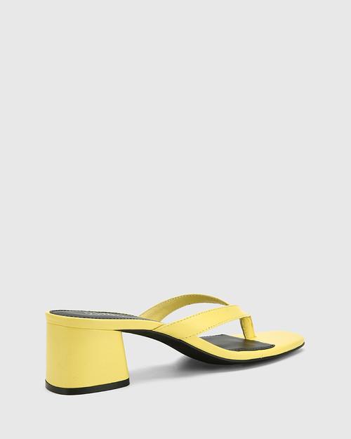 Dex Sunshine Yellow Leather Block Heel Thong Sandal. & Wittner & Wittner Shoes