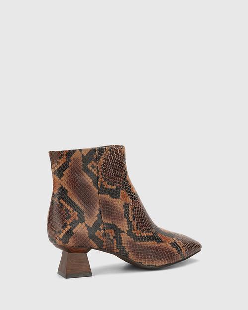 Gotham Brown Anaconda Print Leather Sculptured Heel Ankle Boot. & Wittner & Wittner Shoes