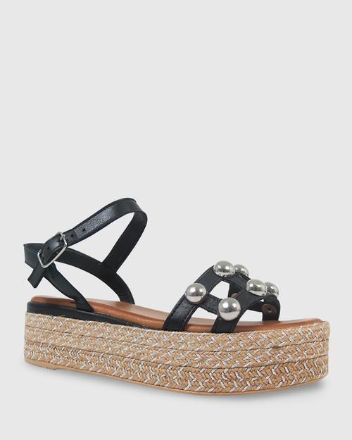 Kassidy Black Leather Silver Stud Flatform Sandal.