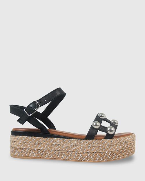 Kassidy Black Leather Silver Stud Flatform Sandal. & Wittner & Wittner Shoes