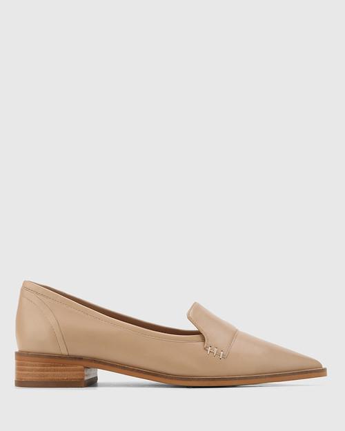 Miguel Sesame Leather Pointed Toe Loafer. & Wittner & Wittner Shoes