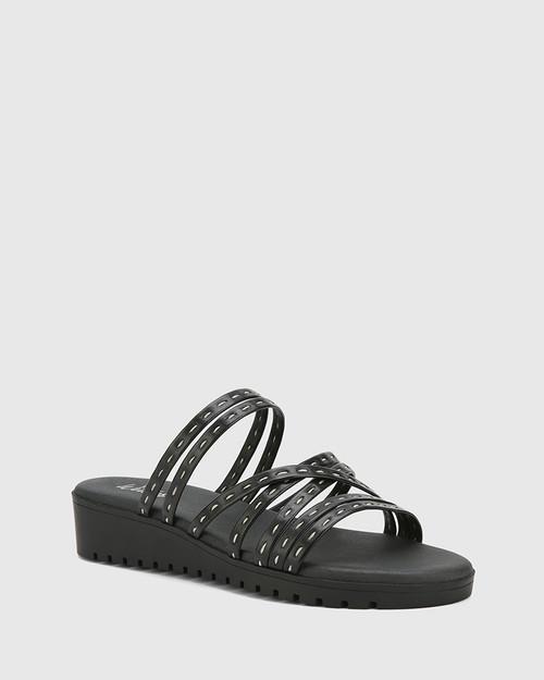 Jelica Black Leather Slip On Wedge Sandal.