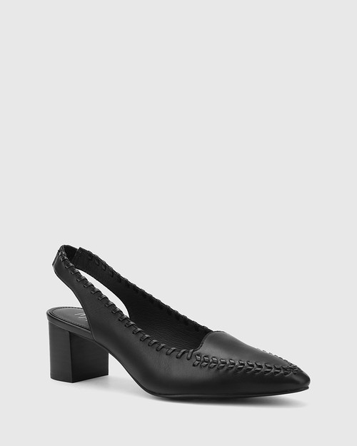 Levana Black Leather Slingback Block Heel.