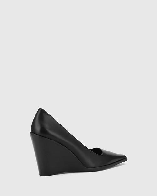 Hew Black Leather Snib Toe Wedge. & Wittner & Wittner Shoes