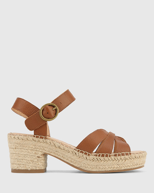Maldives Cognac Leather Open Toe Espadrille Sandal. & Wittner & Wittner Shoes