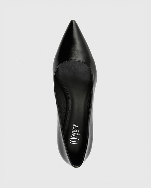 Daiko Black Vintage Patent Leather Stiletto Heel Point Toe. & Wittner & Wittner Shoes