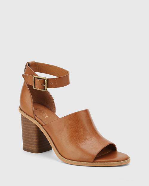 Fig Dark Cognac Leather Block Heel Sandal.