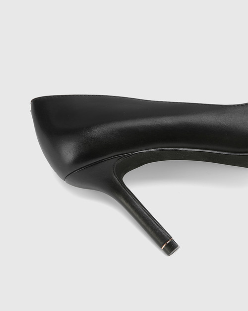 Quendra Black Leather Gold Trim Pointed Toe Pump.