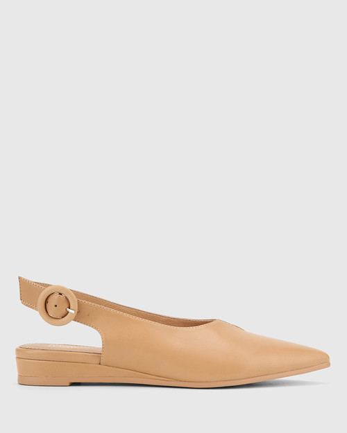 Alvin Natural Leather Pointed Toe Slingback Flat. & Wittner & Wittner Shoes