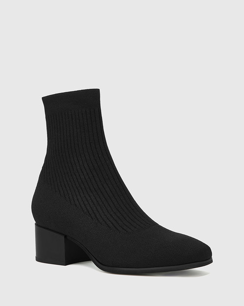 Orbit Black Recycled Knit Ankle Boot
