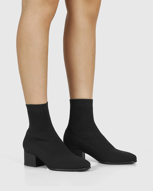 Orbit Black Recycled Flyknit Ankle Boot