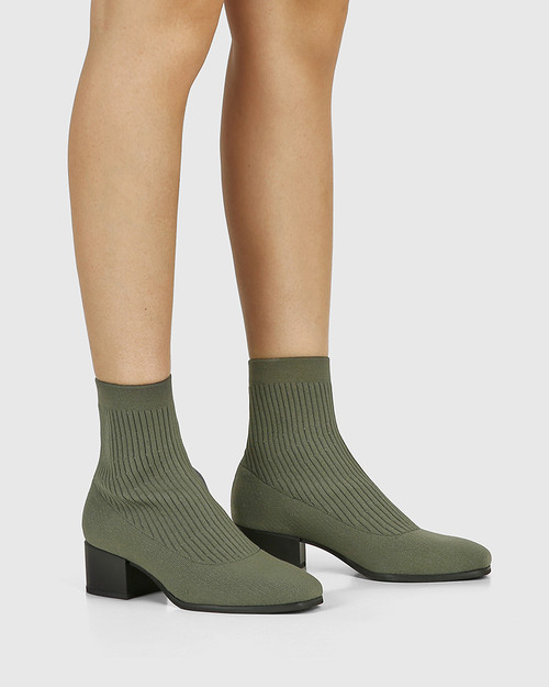 Orbit Olive Green Recycled Flyknit Ankle Boot