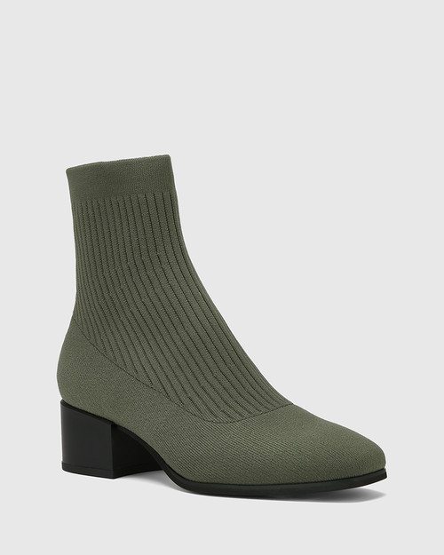 Orbit Olive Green Recycled Knit Ankle Boot