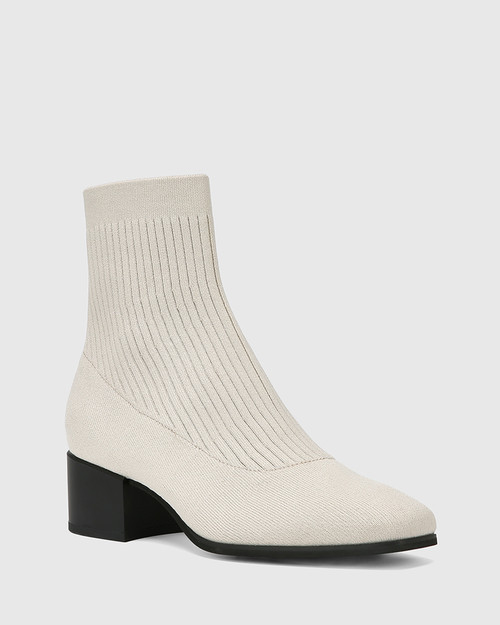 Orbit Vintage Ivory Recycled Knit Ankle Boot